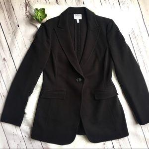 ARMANI COLLEZIONI Black Fitted Textured Blazer